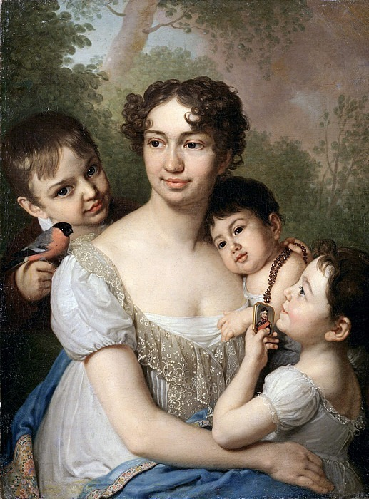 Portrait of Elena Petrovna Balashova with children. Vladimir Borovikovsky