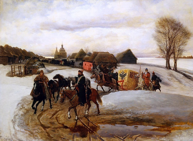 The Queen's Spring Train on a pilgrimage with Tsar Alexei Mikhailovich. Vyacheslav Schwarz