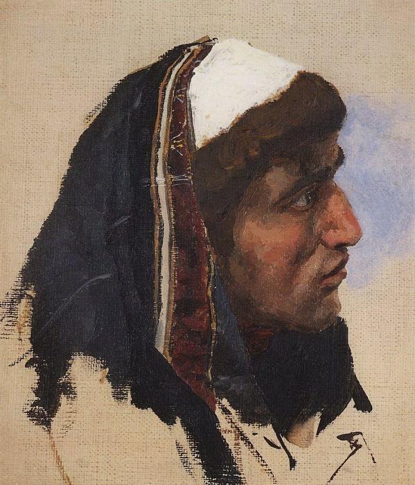 Голова молодого мужчины в синем покрывале. 1880-е. Василий Дмитриевич Поленов