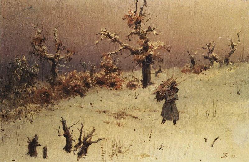 Солдат с вязанкой дров. 1883. Vasily Polenov