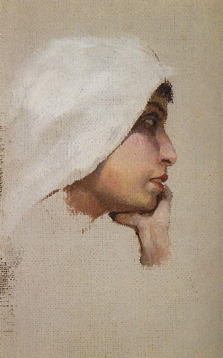 Голова молодой женщины в белом покрывале. 1880-е. Vasily Polenov