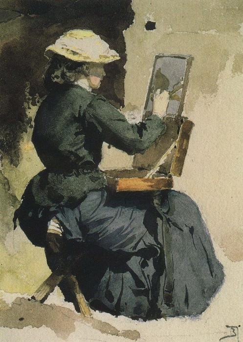 Портрет Н.В.Якунчиковой (Поленовой) за этюдом. 1882. Василий Дмитриевич Поленов