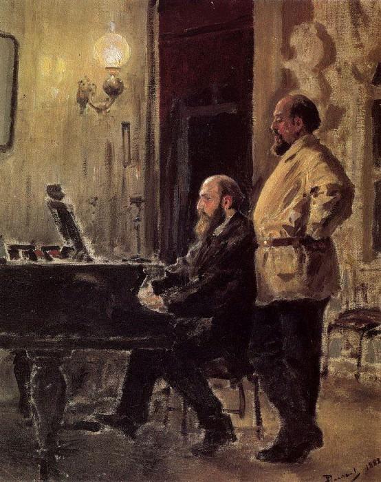 С.И.Мамонтов и П.А.Спиро у рояля. 1882. Vasily Polenov