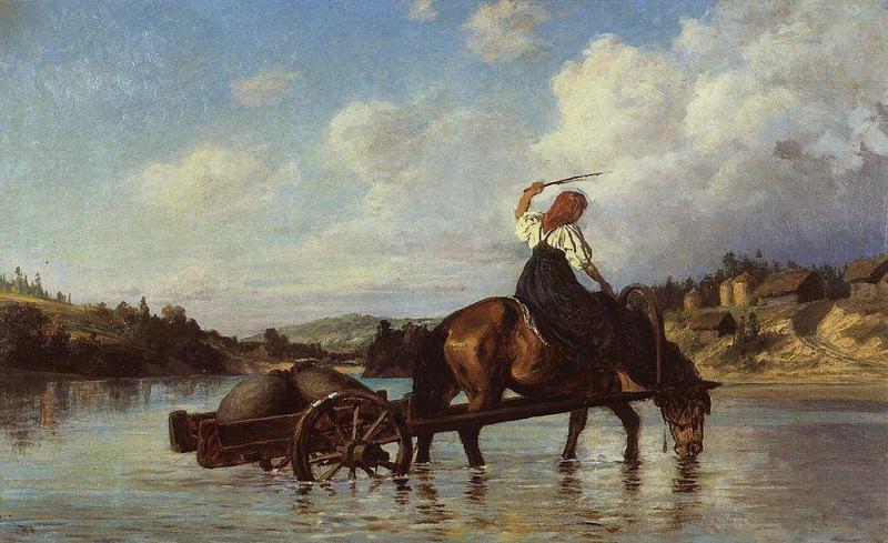 Переправа через реку Оять. С мельницы. 1872. Vasily Polenov