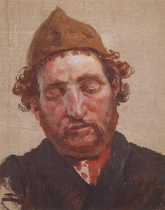 Голова рыжеволосого мужчины в желтой ермолке. 1880-е. Vasily Polenov