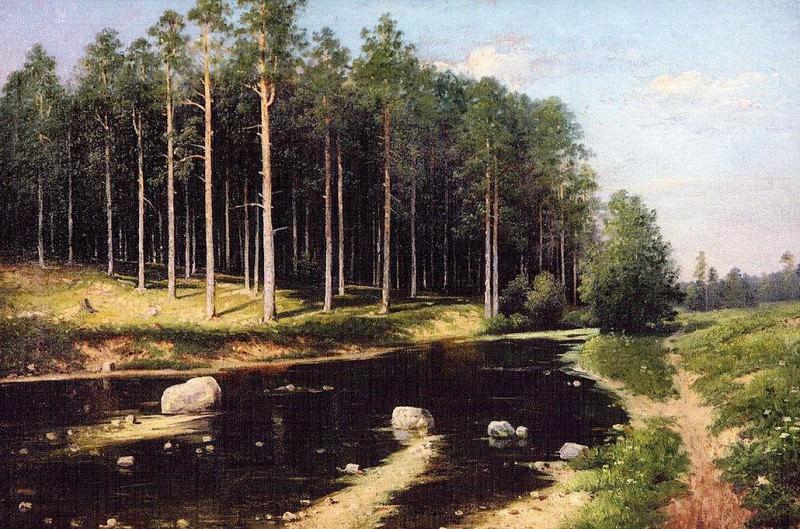 Сосновый бор на берегу реки. Vasily Polenov