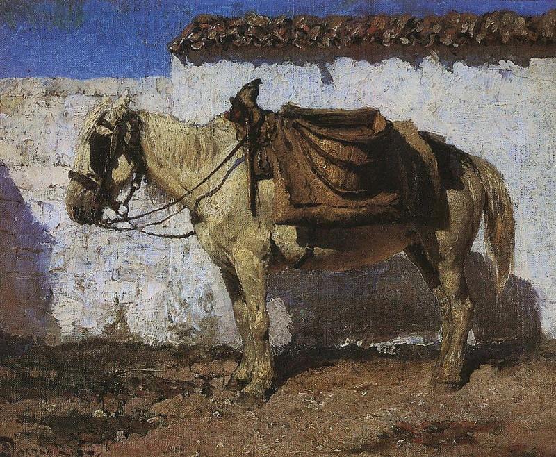 Белая лошадка. Нормандия. 1874. Vasily Polenov