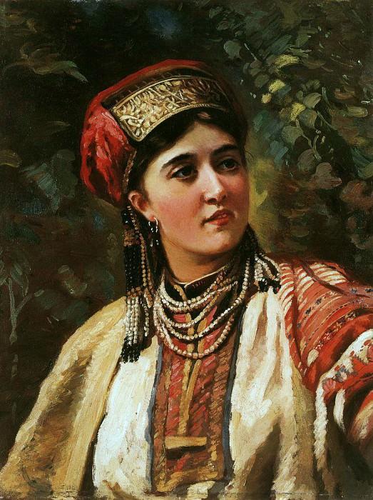 Girl in national costume. Konstantin Makovsky