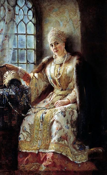 Боярыня у окна. 1885. Холст, масло. 174х117 см. Константин Егорович Маковский