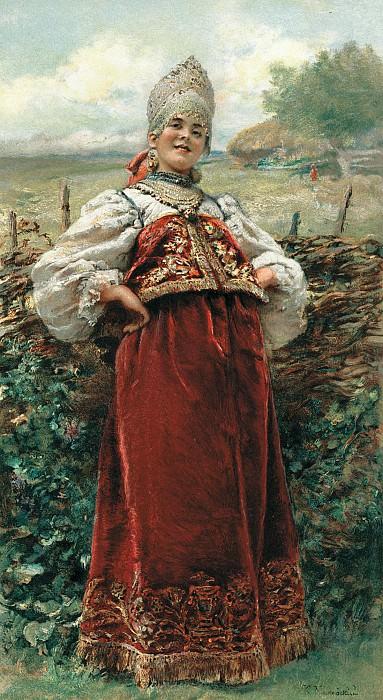 Константин МАКОВСКИЙ (1839-1915). У околицы. Холст, масло. Константин Егорович Маковский