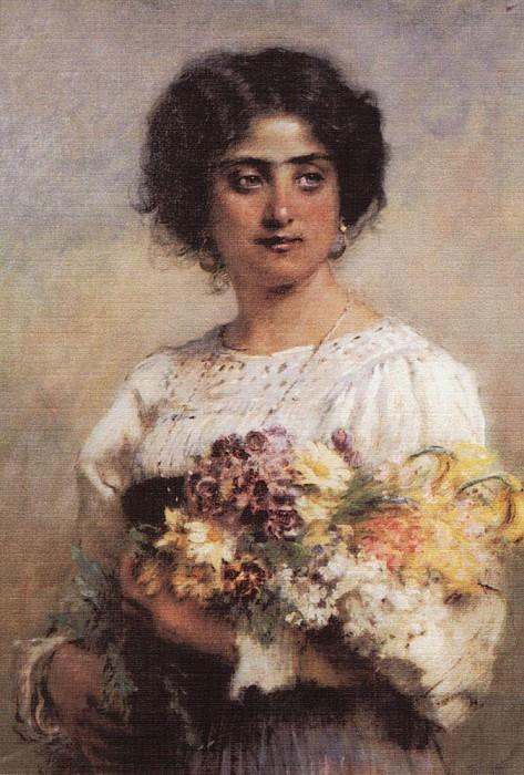 Портрет девушки с букетом (сербиянка). Константин Егорович Маковский