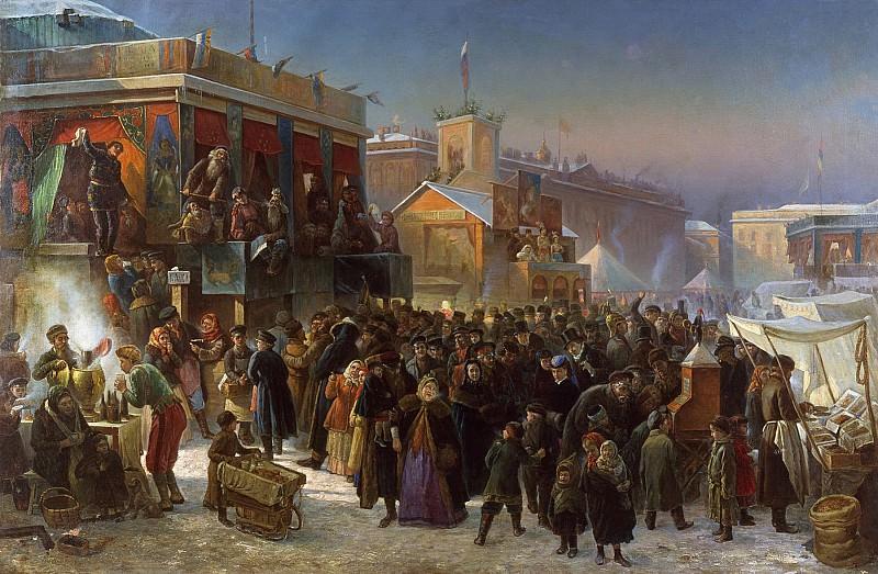 St Petersburg, 1869: Festivities on Admiraltesky Square during Shrovetide. Konstantin Makovsky