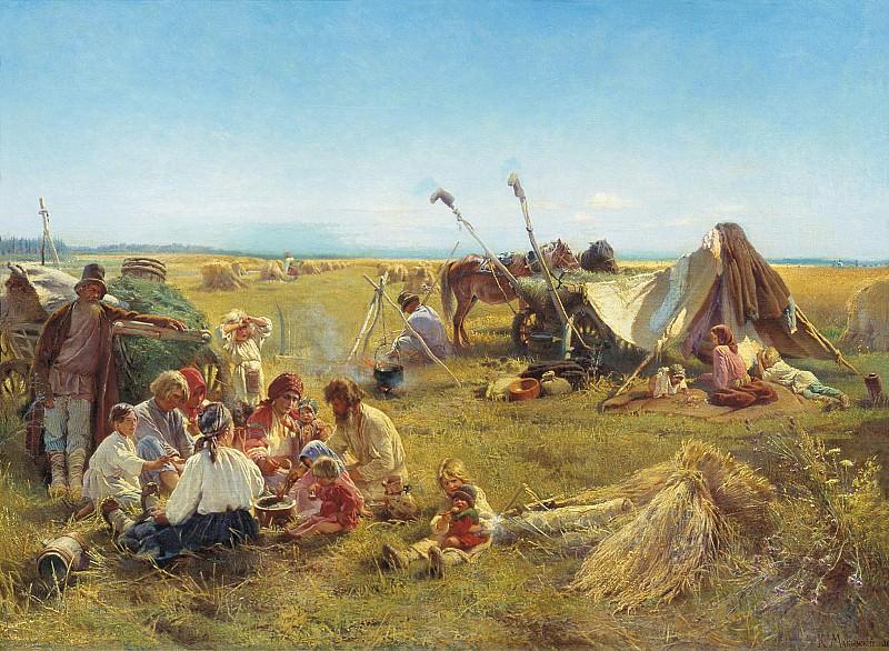 Крестьянский обед в поле. Холст, масло. Константин Егорович Маковский