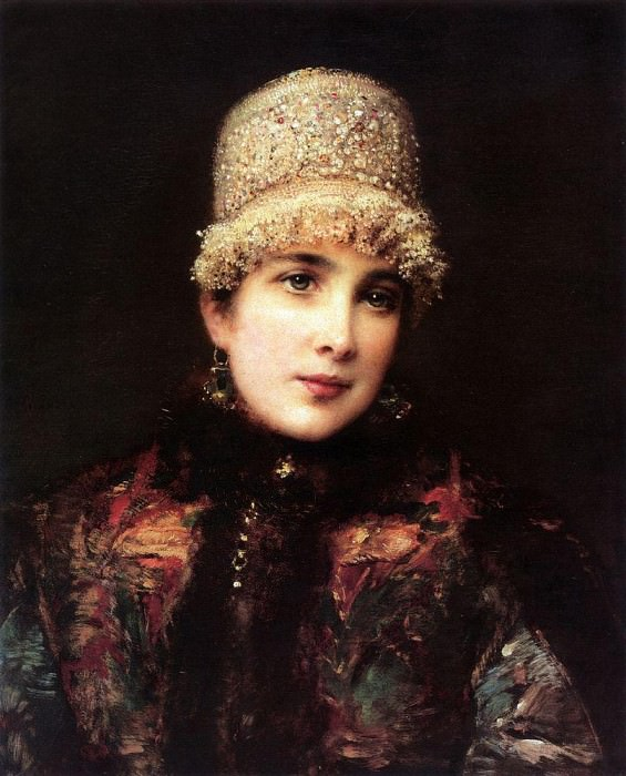 Russian beauty in kokoshnik. Konstantin Makovsky