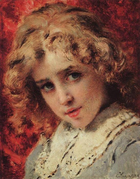 Children's head (Possibly portrait of Konstantin's son). Konstantin Makovsky