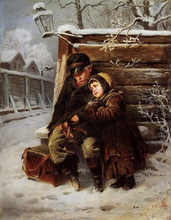 Маленькие шарманщики у забора зимой. Константин Егорович Маковский