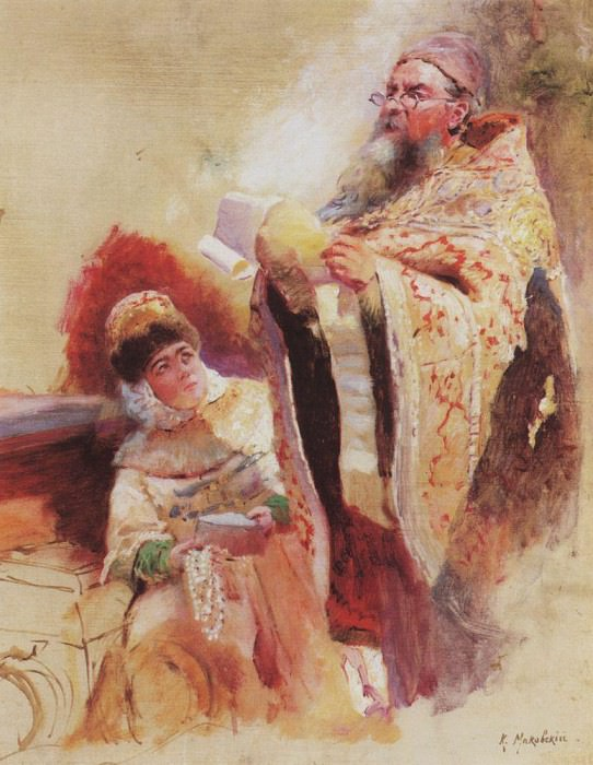 Priest and Boyarynya. Konstantin Makovsky