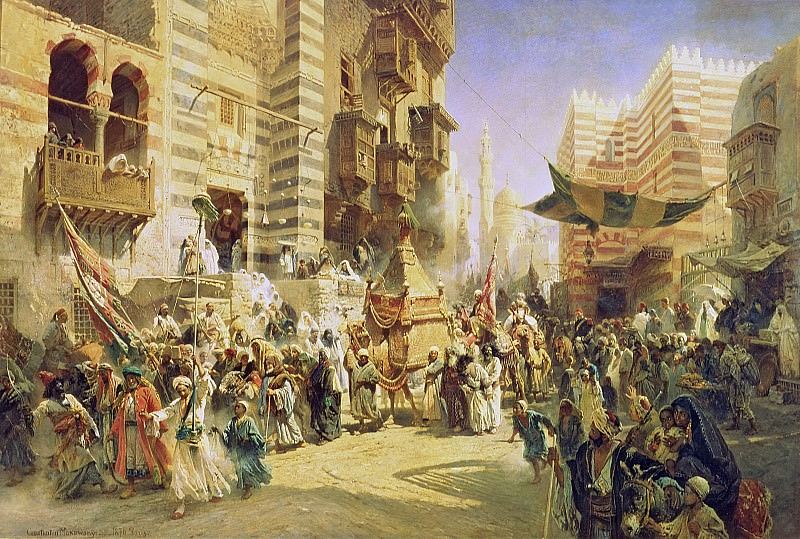 The handing over of the Sacred Carpet in Cairo. Konstantin Makovsky