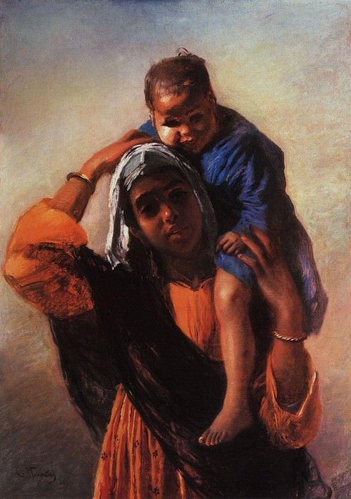 Eastern woman with child. Konstantin Makovsky