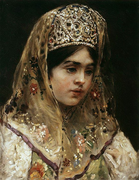 Portrait of a girl in Russian costume. Konstantin Makovsky
