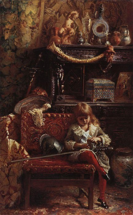 Portrait of a son in the workshop (Small antiquarian). Konstantin Makovsky