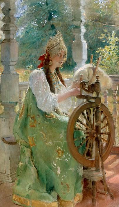 Am Spinnrad (Olga's portrait). Konstantin Makovsky