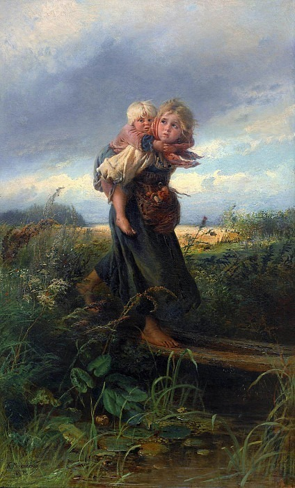 Children running from a thunderstorm. Konstantin Makovsky