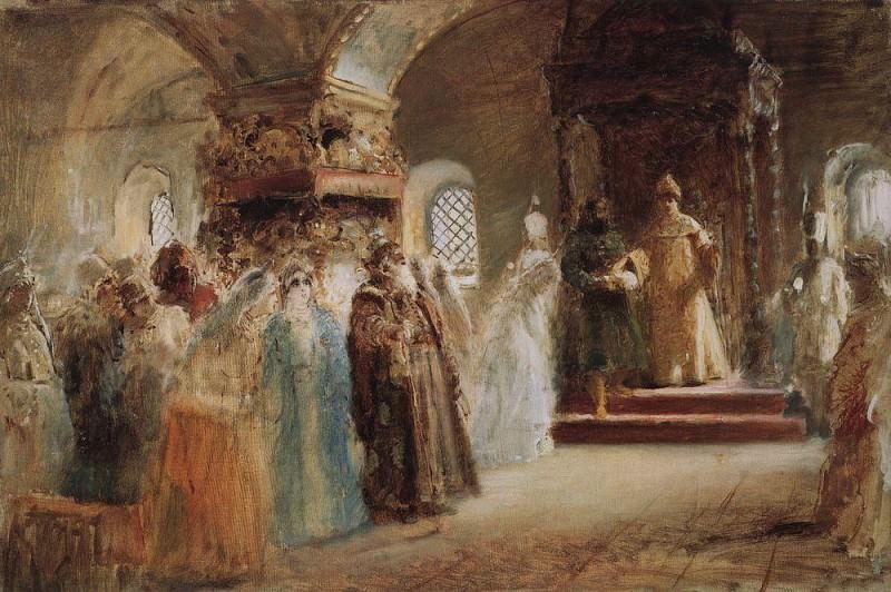 Выбор невесты царем Алексеем Михайловичем (эскиз). Константин Егорович Маковский