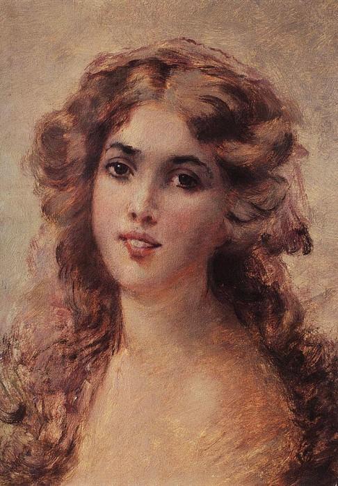 Girl Head. Konstantin Makovsky