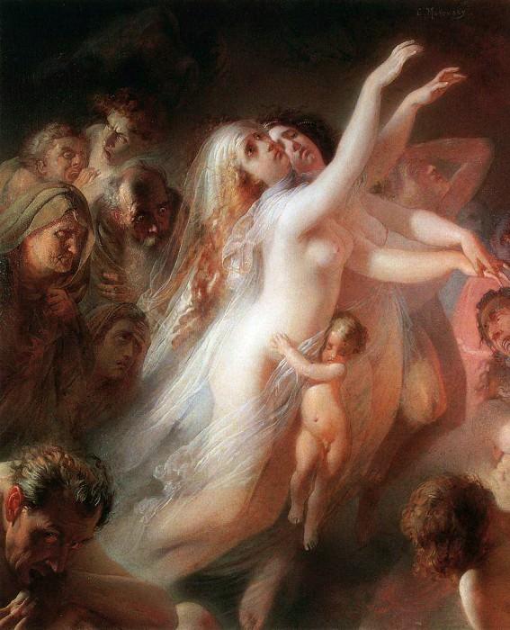 Харон перевозит души умерших через реку Стикс -- Charon transfers the souls of deads over the Stix river (1861). Konstantin Makovsky