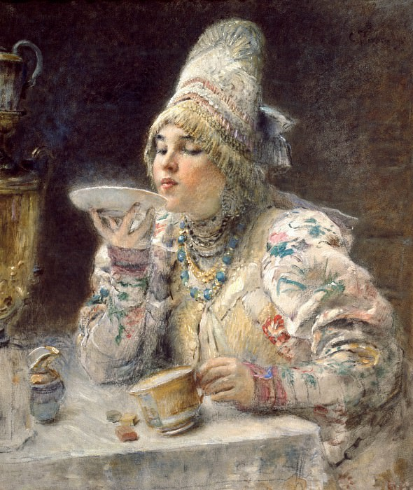 MAKOVSKY Constantine - Drinking Tea. 900 Classic russian paintings