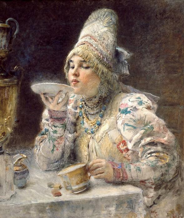 Drinking Tea. Konstantin Makovsky