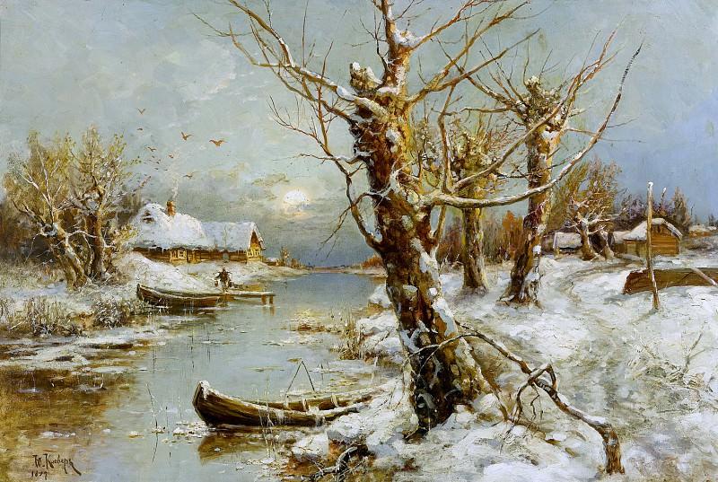 Зимний речной пейзаж - Winterliche Flusslandschaft 1897. Yuly Klever