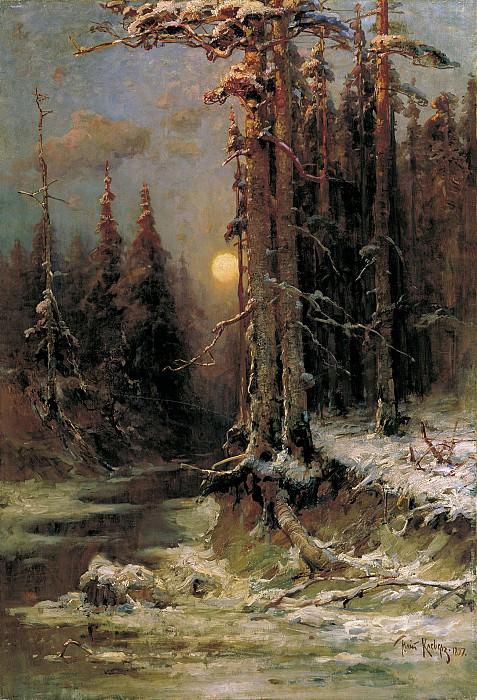 Юлий КЛЕВЕР 1850 1924 Закат солнца зимой 1897 Холст масло. Юлий Клевер