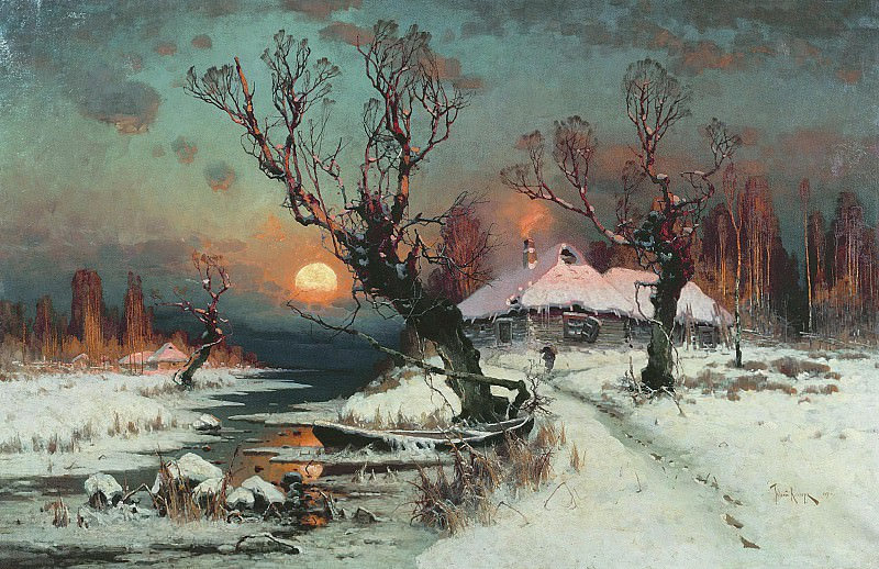 Юлий КЛЕВЕР 1850 1924 Закат солнца зимой 1891 Холст масло. Юлий Клевер