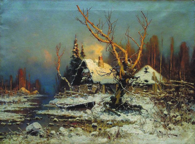 Юлий КЛЕВЕР 1850 1924 Зимний пейзаж с избушкой Холст масло 2. Yuly Klever
