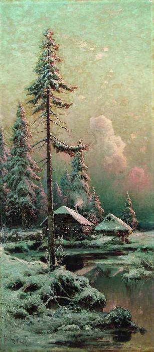 Юлий КЛЕВЕР 1850 1924 Зимний пейзаж с избами у реки Холст масло. Yuly Klever