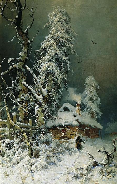 Юлий КЛЕВЕР 1850 1924 Зимний пейзаж с избушкой Холст масло. Юлий Клевер