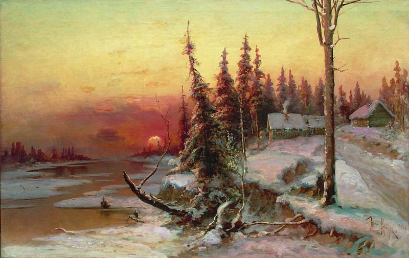 Юлий КЛЕВЕР 1850 1924 Закат в деревне Холст масло. Yuly Klever