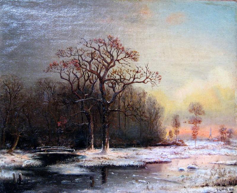 Зимний пейзаж - Winter Landscape. (1876). Yuly Klever