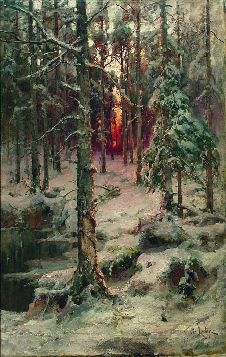 Юлий КЛЕВЕР 1850 1924 Зима Сосновый бор Холст масло. Yuly Klever