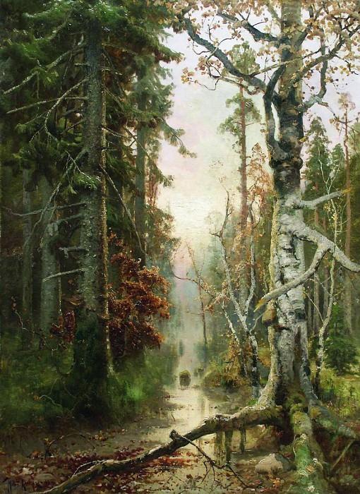 Юлий КЛЕВЕР 1850 1924 Осень в лесу Холст масло. Юлий Клевер