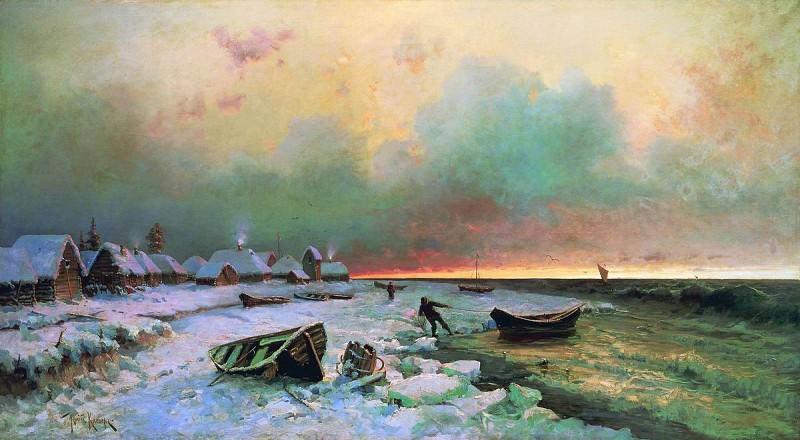 Юлий КЛЕВЕР 1850 1924 Деревня на острове Нарген Холст масло. Yuly Klever