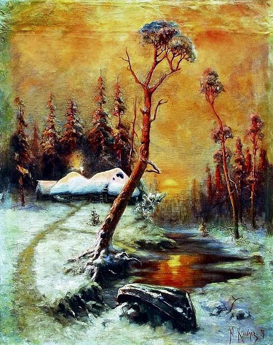 Зимний пейзаж с соснами. Yuly Klever