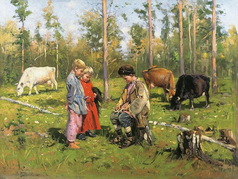 Пастушки 1903 Холст масло. Vladimir Makovsky
