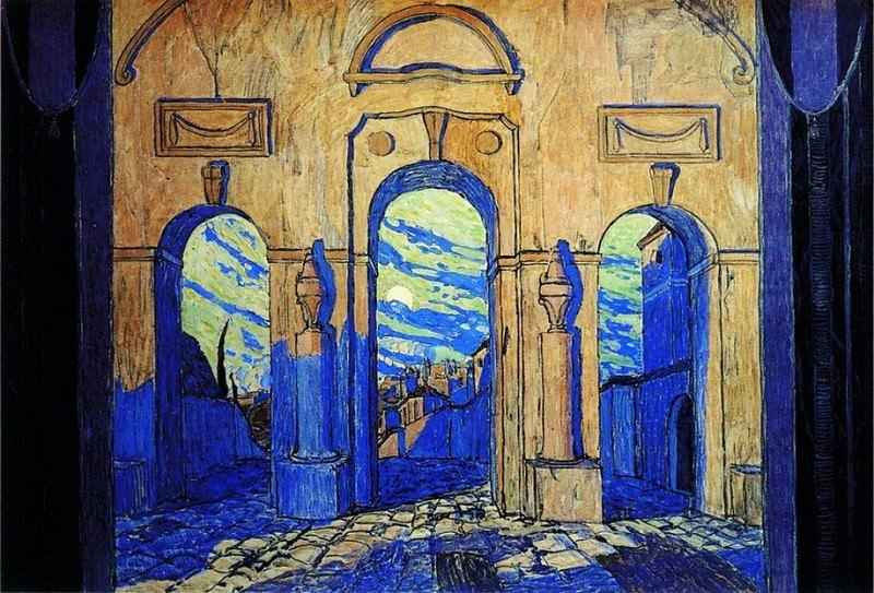 У стен Мадрида. Эскиз декорации к опере А.С. Даргомыжского Каменный гость. 1917. Alexander Golovin
