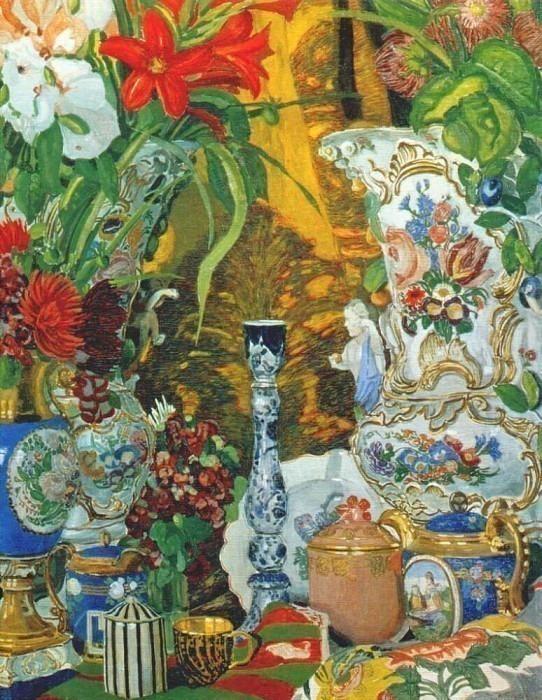 golovin still life with flowers and china 1912. Alexander Golovin