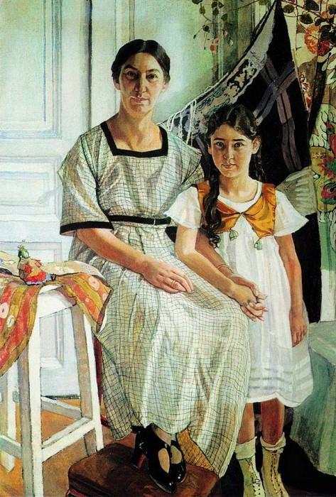 Портрет Лидии Яковлевны Рыбаковой с дочерью Олей. 1923. Александр Яковлевич Головин