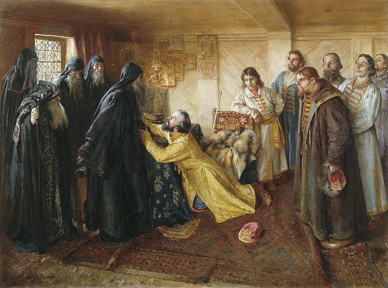 Царь Иван Грозный просит игумена Корнилия постричь его в монахи. Холст, масло. Clavdy Lebedev