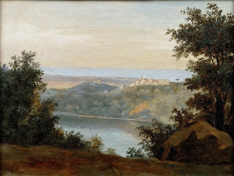 Pierre Henri de Valenciennes -- Lake Nemi: In the distance, the City of Genzano. Part 5 Louvre